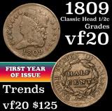 1809 Classic Head half cent 1/2c Grades vf, very fine