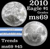 2010 Silver Eagle Dollar $1 Grades ms69
