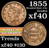 1855 Braided Hair Half Cent 1/2c Grades xf