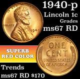 1940-p Lincoln Cent 1c Grades GEM++ Unc RD