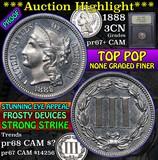 Proof 1888 Top Pop Three Cent Copper Nickel 3cn Grades GEM++ Proof Cameo