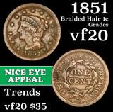 1851 Braided Hair Large Cent 1c Grades vf, very fine