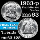 1963-p Franklin Half Dollar 50c Grades Select Unc