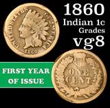 1860 Indian Cent 1c Grades vg, very good