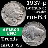 1937-p Buffalo Nickel 5c Grades Select Unc
