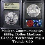 1999-p Dolley Madison Modern Commem Dollar 1 Graded ms70, Perfection by USCG