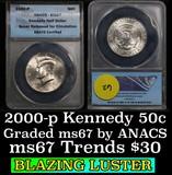 ANACS 2002-p   Kennedy Half Dollar 50c Graded ms67 by ANACS