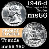 1946-d Washington Quarter 25c Grades GEM+ Unc