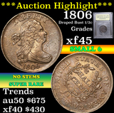 ***Auction Highlight*** 1806 Sm 6, no stems Draped Bust Half Cent 1/2c Graded xf+ by USCG (fc)