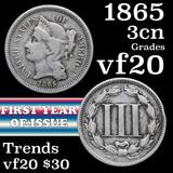 1865 Three Cent Copper Nickel 3cn Grades vf, very fine
