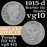 1915-d Barber Quarter 25c Grades vg+