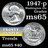 1947-p Washington Quarter 25c Grades GEM Unc