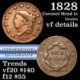 1828 Coronet Head Large Cent 1c Grades vf details