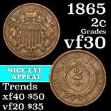 1865 Two Cent Piece 2c Grades vf++