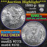 1881-p Morgan Dollar $1 Grades GEM Unc