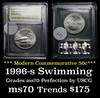 1996-s Olympics Swimming Modern Commem Half Dollar 50c Graded ms70, Perfection by USCG