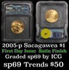 2005-p Sacagawea Dollar 1 Graded sp69 by ICG