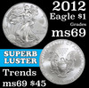 2012 Silver Eagle Dollar $1 Grades ms69