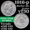 1916-p Barber Dime 10c Grades vf++