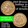 1864 Bronze Indian Cent 1c Grades xf details
