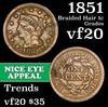 1851 Braided Hair Large Cent 1c Grades vf, very fine