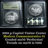 2001-p Capitol Modern Commem Dollar $1 Graded ms70, Perfection by USCG