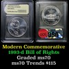 1993-d Bill of Rights Modern Commem Dollar $1 Graded ms70, Perfection by USCG