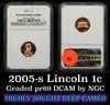 NGC 2005-s Lincoln Cent 1c Graded pr69 DCAM by NGC