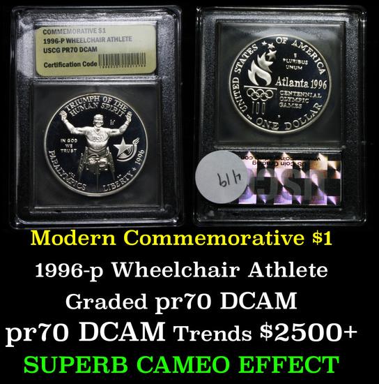 1996-p Paralympics (Wheel Chair Athlete) Modern Commem $1 Graded GEM++ Proof DCAM by USCG