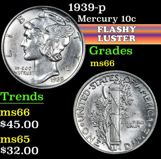 1939-p . . Mercury Dime 10c Grades GEM+ Unc