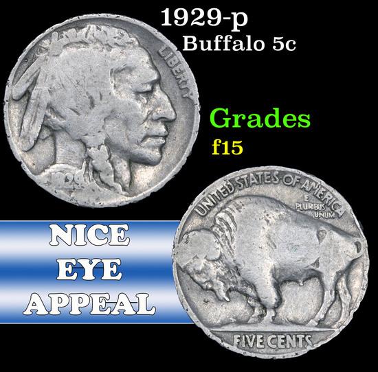 1929-p . . Buffalo Nickel 5c Grades f+