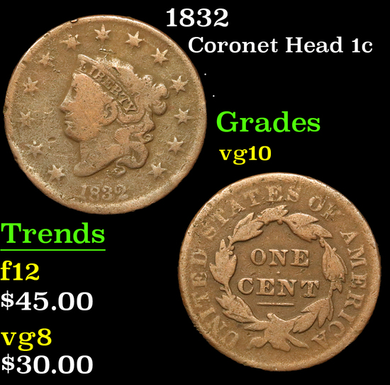 1832 . . Coronet Head Large Cent 1c Grades vg+