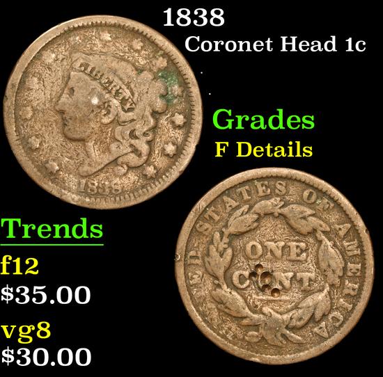 1838 . . Coronet Head Large Cent 1c Grades f details