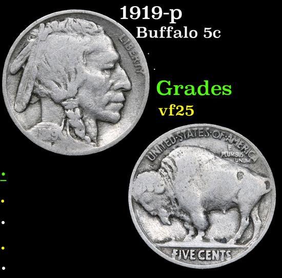 1919-p . . Buffalo Nickel 5c Grades vf+