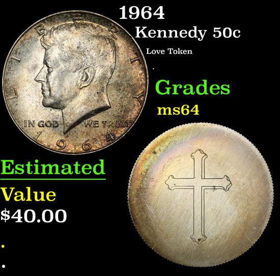 1964 Love Token . Kennedy Half Dollar 50c Grades Choice Unc
