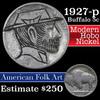 Hobo  Buffalo Nickel 5c Grades Hand Carved (fc)