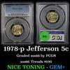 PCGS 1978-p Jefferson Nickel 5c Graded ms66 by PCGS