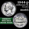 1944-p Jefferson Nickel 5c Grades GEM Unc