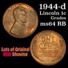 1944-d Lincoln Cent 1c Grades Choice Unc RB