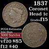 1837 Coronet Head Large Cent 1c Grades f+