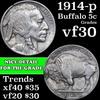 1914-p Buffalo Nickel 5c Grades vf++