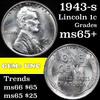 1943-s Lincoln Cent 1c Grades GEM+ Unc
