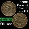 1838 Coronet Head Large Cent 1c Grades f, fine