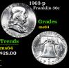 1963-p . . Franklin Half Dollar 50c Grades Choice Unc