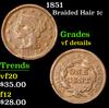 1851 . . Braided Hair Large Cent 1c Grades vf details