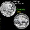 1915-p . . Buffalo Nickel 5c Grades vf++