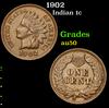 1902 . . Indian Cent 1c Grades AU, Almost Unc