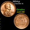 1954-p Lincoln Cent 1c Grades Choice Unc RB