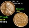 1911-d Lincoln Cent 1c Grades vf+