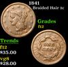 1841 Braided Hair Large Cent 1c Grades f, fine